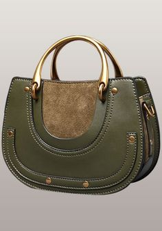 Eliana Circle Suede And Leather Bag Green Beautiful Handbag With Shoulder Strap