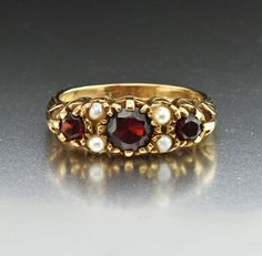 """Terrific Cost-Free Vintage Gold Pearl & Garnet Ring, Half Eternity Band Style """"The Golden – what seems like pomp and luxurious is associated with lavish lifestyle, e Antique Jewellery Online, Antique Jewelry, Vintage Jewelry, Victorian Jewelry, Antique Rings, Art Deco Jewelry, Fine Jewelry, Jewelry Ideas, Tourmaline Earrings"""