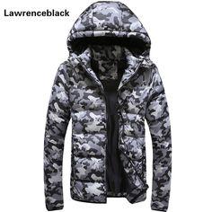 168708dca46a2 Мужская зимняя куртка теплые камуфляжные куртки мужские ватник с капюшоном  Пальто Повседневная брендовая пуховая парка плюс