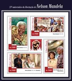 São Tomé and Príncipe ST 15118 a25th anniversary of the liberation of Nelson Mandela (1918–2013, {…}, Nelson Mandela and Oprah Winfrey)