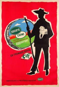 Société Crème,  fabriqué exclusivement avec du Roquefort - 1961 -