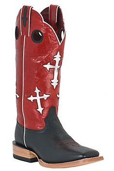 Ariat Ranchero Ladies Black w/ Silver Crosses on Red Top Square Toe Western Boot