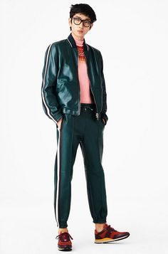 Green Leather Jogging Suit - Bally Menswear SS2017 2