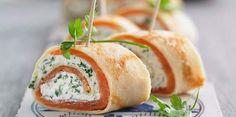 Crêpes roulées au saumon fumé et cream cheeseCrêpes roulées au saumon fumé et cream cheese