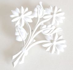 Pure white flower bouquet resin brooch or pin by Bunnys on Etsy, $24.00