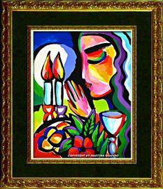 Shabbat Lights blessing the candles Jewish original paintings by artist Martina Shapiro, abstract still life, Judaica