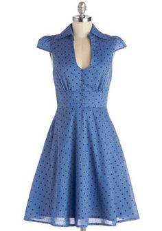 Surprise Sunset Dress in Dots. Youve spent a delightful day chatting with friends on the patio in this retro, polka-dotted dress from Fever London. #blue #modcloth