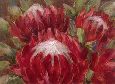 """Bunch of proteas daily painting by Heidi Shedlock Protea Art, Protea Flower, Flower Painting Canvas, Canvas Art, Painting Flowers, Watercolour Painting, Paintings I Love, Oil Paintings, South African Artists"