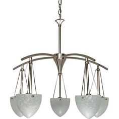 Glomar South Beach 5-Light Brushed Nickel Chandelier with Water Spot Glass Shade-HD-130 at The Home Depot $170