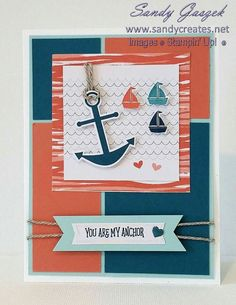 Paper Pumpkin April 2018 - using envelope as a mat. Anchor Paper, Christmas Craft Fair, Stampin Up Paper Pumpkin, Pumpkin Cards, Nautical Cards, Birthday Cards For Men, Masculine Cards, Card Sketches, Stamping Up