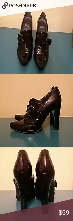 Stuart Weitzman shoes Stuart Weitzman black patent leather buckled, pointed toe, heeled oxford booties. Stuart Weitzman Shoes Heels