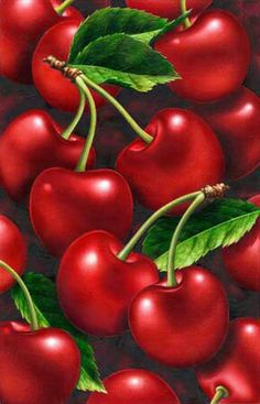 Cherries - Metallic Red and Green