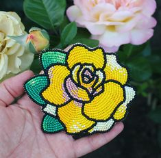 Hand embroidered rose patch, sew on patch, flower patch Beaded Flowers Patterns, Beaded Earrings Patterns, Beading Patterns, Beaded Brooch, Native Beadwork, Native American Beadwork, Powwow Beadwork, Flower Pattern Drawing, Beaded Embroidery