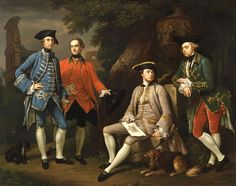 Conversation Piece, also known as Portrait of James Grant of Grant, John Mytton, the Honorable Thomas Robinson, and Thomas Wynne by Sir Nathaniel Dance-Holland 18th Century Clothing, 18th Century Fashion, 19th Century, Gabriella Wilde, Victoria And Albert Museum, John Watson, Marine Francaise, Baronet, Historical Art
