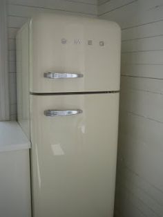 cream coloured smeg fridge