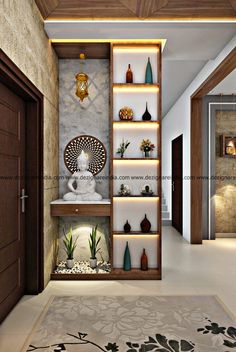 Wall Divider Entryway Decor Living Room Partition Design Pertaining To Room Interior Foyer Design, Pooja Room Door Design, Deco Design, Living Room Interior, Interior Design Living Room, Living Room Decor, House Design, Decor Room, Design Room