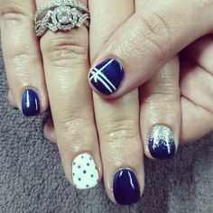 Navy and white nails with dots, silver ombre glitter and stripes