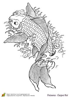 Coloriage dessin poisson carpe koi sur Hugolescargot.com - Hugolescargot.com