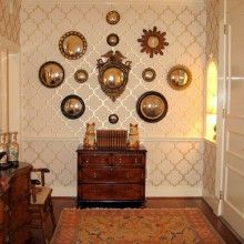 Entrance Foyer - Grouping of Mirrors, Artwork Grouping, Wall Grouping Oriental Rug, Wallpaper, Chair Railing