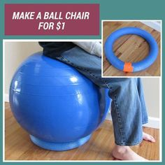 SWEET! Need a chair for your balance balls? Use pool noodles!