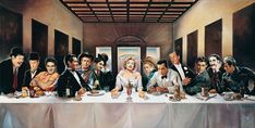 Hollywood Legends Last Supper GIANT Wide Digital Painting Poster Parody Mancave Bar Marilyn Elvis Marylin Monroe, Last Supper Art, The Last Supper Painting, Fred Astaire, Classic Hollywood, Old Hollywood, Hollywood Tonight, Hollywood Style, Cinema Tv