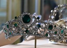 The Tiara of Marie-Thérèse from ferrebeekeeper    Above is the emerald and diamond tiara of Marie-Thérèse-Charlotte, the Duchess of Angoulême.  Through several peculiar quirks of fate it is one of the few crown jewels of France to remain unaltered after the rest were sold or stolen. It can be found today in the Louvre surrounded by various crowns which are made of paste or missing their valuable jewels. …