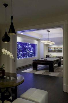 Stunning Aquarium Design Ideas For Indoor Decorations 62 Home Aquarium, Aquarium Design, Aquarium Ideas, Fish Tank Design, Amazing Aquariums, Farmhouse Side Table, Game Room Decor, Interior Design Living Room, Indoor