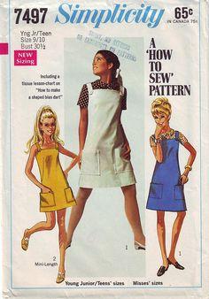 1967 Misses'/ Jr OnePiece Jumper Mini Dress by TheVintageCat1920