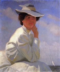 """""""In the Sunlight (Portrait of the Artist's Wife)"""", 1908, by William McGregor Paxton (American, 1869-1941)"""