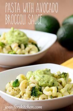 Yummy avocado sauce on gluten-free pasta!