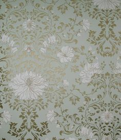 Wild Flowers Wallpaper Leaf scroll design in gold on pale aqua with white flowers