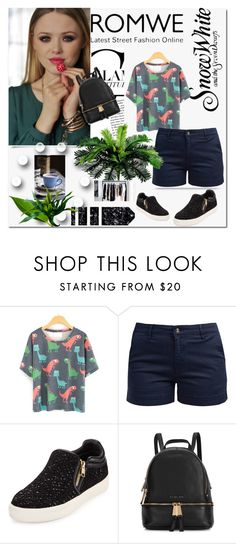 """Win this Cartoon Dinosaur Print T-Shirt"" by adorotic-1 ❤ liked on Polyvore featuring Barbour, Ash and Michael Kors"