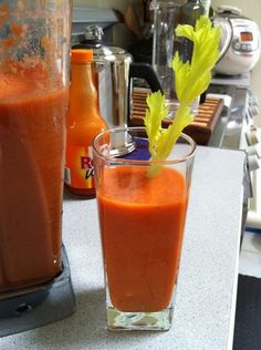 """Fat, Sick and Nearly Dead"" Inspired Juice Recipe   •4 Med sized ripe tomatoes   •2 celery stalks   •2 carrots   •1 Orange (wedges) or Apple (cored but unpeeled)   •1 Lemon (skinned wedges)   •1 Lime (skinned wedges)   •Berries (optional)   •1 Tbsp Hot sauce (optional but strongly recommended)   •2 Tbsp Omega 3 Oil from flax seeds   •1 C Cold Water"