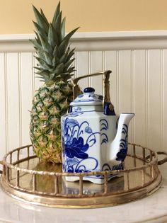 SALE...Vintage Asian Hexagonal Cobalt Blue & by YellowHouseDecor