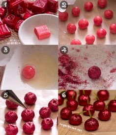How to make Fruit Candy Decorations. These sparkly cherries are perfect for adding to cupcakes and cake pops! How to Make Fruit Candy Decorations Köstliche Desserts, Delicious Desserts, Dessert Recipes, French Desserts, Plated Desserts, Cake Decorating Tips, Cookie Decorating, Yummy Treats, Sweet Treats