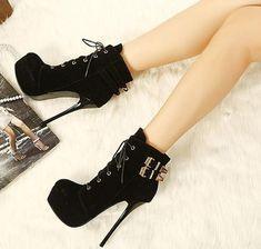 Black Platform High Heels Ankle Boots