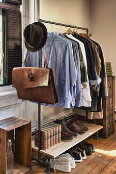 Mens #fashion on an #industrial style rolling rack.  Perfect for those without #closet space