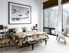 Plascon House Tour: Chalet in Aspen - SA Decor & Design Aspen, Cozy Bedroom, Bedroom Decor, Master Bedroom, Guest Bedrooms, Modern Bedroom, Bedroom Ideas, Ski Chalet Decor, Chalet Chic