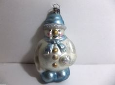 Vintage Blown Glass SNOWMAN Christmas Tree Ornament Blue SILVER MICA