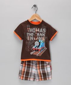 Take a look at this Chocolate Plaid Thomas Tee & Shorts - Infant by Thomas & Friends on #zulily today!
