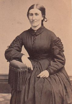 CDV Civil War Lady in Day Dress with Smocked by LangdonRoadPhotos