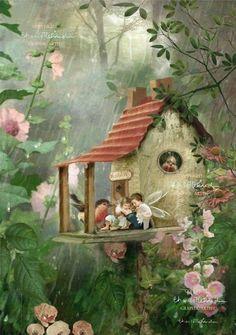 Fairy Print Mounted or unmounted or two Rainy Day Hideaway . Fairy Print Mounted or unmounted or two Fantasy Kunst, Fantasy Art, Fairy Pictures, Fairytale Art, Beautiful Fairies, Flower Fairies, Fairy Art, Magical Creatures, Fairy Tales