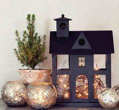 Woodland Christmas, Merry Little Christmas, Rustic Christmas, Winter Christmas, Putz Houses, Glitter Houses, Christmas Store, Christmas Decorations, Holiday Decor
