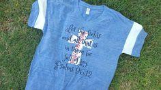 Baseball mom shirt. Pacific blue  slouchy tee. Baseball cross shirt. by FlamingoPinksApparel