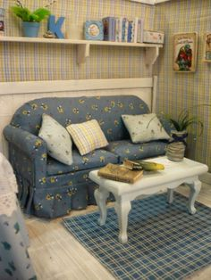 miniature blue parlor Similar to my daughter's first doll house living room (RM)