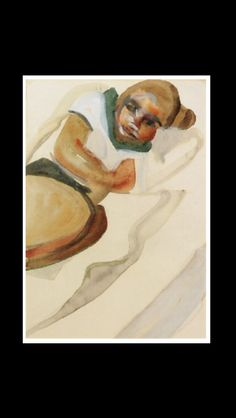 """Lucian Freud - """" Girl resting """", 1961 - Pencil and watercolor  - 33,6 x 24,2 cm"""