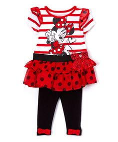 Another great find on #zulily! Red Minnie Mouse Dress & Leggings - Infant, Toddler & Girls #zulilyfinds