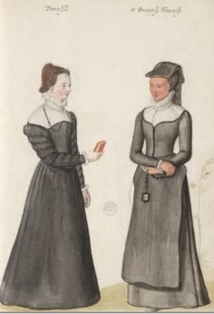 Damoiselle et Bourgoeise Francoise.   French lady and bourgeoisie. D'Heere, Lucas. 1575, page 57 http://adore.ugent.be/OpenURL/app?id=archive.ugent.be:1EEACAD8-B1E8-11DF-966C-0D0679F64438&type=carousel