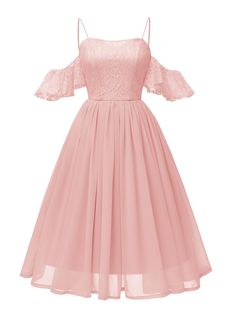 A-Line Dress Hollow Out Shoulder Ruffled Dress - A-Line Dress Hollow Out Shoulder Ruffled Dress, Pink / M Best Picture For Formelle kleider kurz F - Casual Party Dresses, Hoco Dresses, Homecoming Dresses, Pretty Dresses, Beautiful Dresses, Formal Dresses, A Line Dresses, Tailored Dresses, Pink Dress Casual