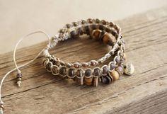 Boho Friendship 3x Wrap Bracelet Rustic Hemp Wanderlust by ByLEXY
